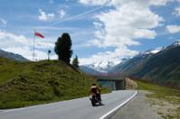 Motorcycle on Alpine Pass