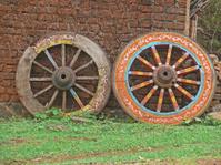 Wheel close up of a bullock cart