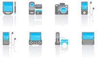 Blue screen gadget icon set