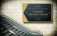 Moving escalator stairs with career opportunities