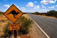 Kangaroo sign next to the highway, Australia