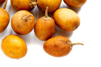 Sapodilla fruit on white background.