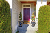 Front door in purple plum color with nice landscape.