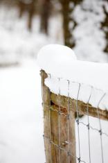 Winter snow covered fences landscape closeup