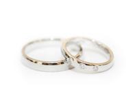 Wedding Rings on white background.