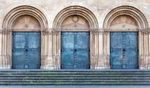 metallic door.  old metal Church Door