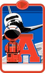 Cartoon Astronaut Learning Letter A