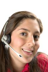 latina girl with headset