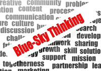 Blue-sky thinking word cloud