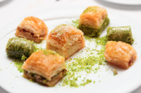 Turkish baklava on a plate