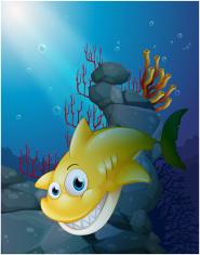 smiling big shark under the sea