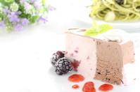 ice cream cake with black bery