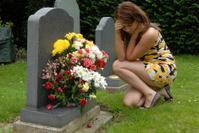 At the gravestone