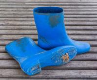 Blue farmer boots