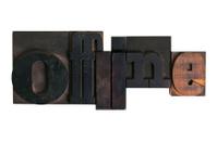 offline, word written in letterpress type blocks