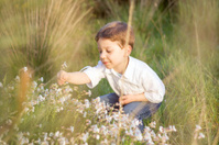 Happy cute kid picking flowers in a field