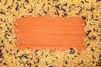 frame mixed  rice on a wood  texture