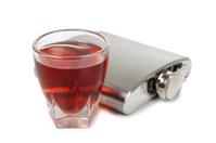 Metal flask whiskey