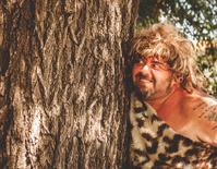 angry caveman outdoors