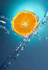 Citrus Fruit Orange Water Splash with Blue Background