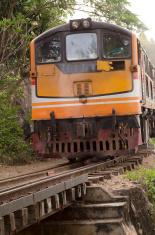 train on the railway, Thailand
