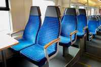 seat at empty railway train in germany