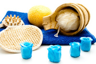 Massage sponge with rose soap