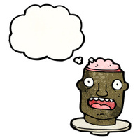 cartoon head  with exposed brain