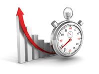 success business graph grow arrow and stopwatch