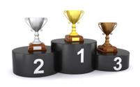 Trophies on the winner's podium