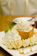 Toast Bread Pudding Banana with ice cream