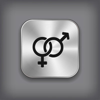 Male and female icon - vector metal app button