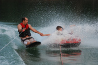 Kneeboarding with Dad While Tubing
