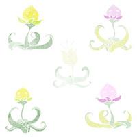 watercolour flower cartoon characters