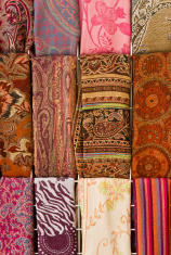Colorful scarves at arabian market, Israel