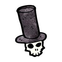 skull in top hat cartoon