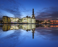 Modern part of  London near the Tower Bridge in England