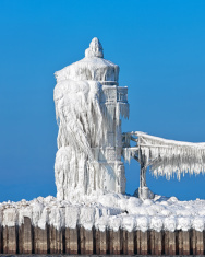 St. Joesph North Pier Light Encased in Ice