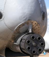Close up of Gatling gun on USAF A10 aircraft