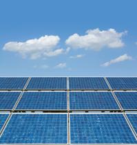 Blue sky over solar panel