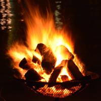 Close up, flames of a bonfire