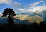 mountain peaks;
