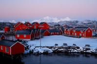 red fishermen houses on Lofoten islands in Norway