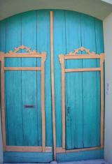 Wooden turquoise fron door