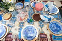 Table set for festive Hanukkah celebration