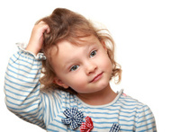 Cute small kid girl thinking and looking. Isolated potrait