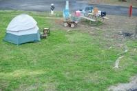 Small dome tent in campsite