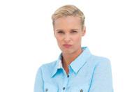 Furious attractive woman looking at camera