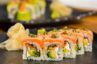 organic sushi roll with salmon