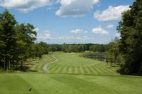 Golf hole on a beautiful course.